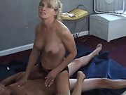 Cuckold wife riding hard dick blonde perfect boobs husband