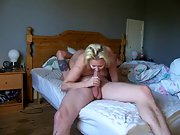 Busty horny blonde cougar huge tits hardcore sex bed natural