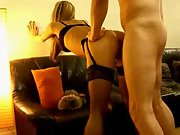 Hot girl stockings suspenders fuck fingering sofa hot girl