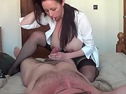 Busty wife handjob riding cowgirl hands hard cum
