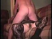 Wife stockings sex caressing