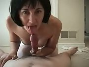 Wife stockings sucking riding cock amateur brunette