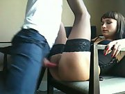 Hooker tight sexy black lingerie dick cum hard sex black