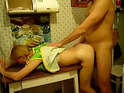 Wife hard kitchen blonde pounded blonde wife