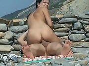 Hot brunette caught riding thick cock public slutty big tits